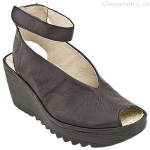 Fly London Yaya Peep Toe Wedge Shoes